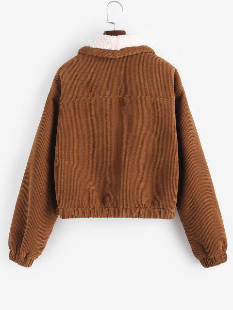 ZAFUL Corduroy Drop Shoulder Teddy Lined Jacket - قهوة L Mobile