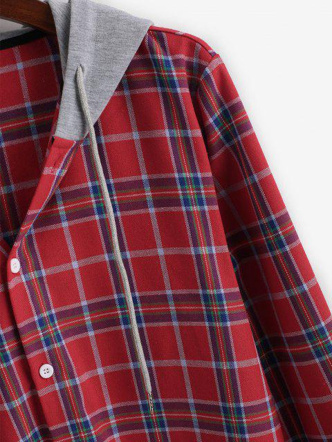 sale Plaid Long Sleeve Colorblock Hooded Shirt - RED XL Mobile