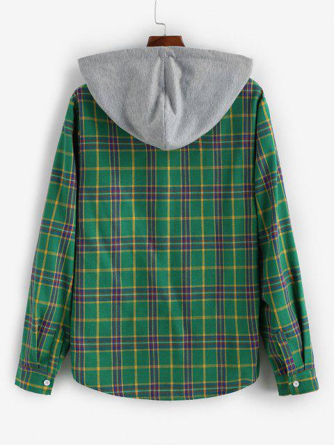 Camicia a Quadretti a Blocchi di Colore con Cappuccio e Maniche Lunghe - Verde intenso L Mobile
