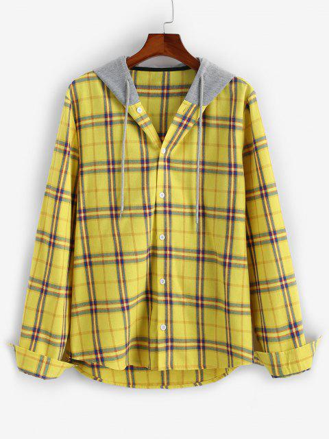 sale Plaid Long Sleeve Colorblock Hooded Shirt - YELLOW 2XL Mobile