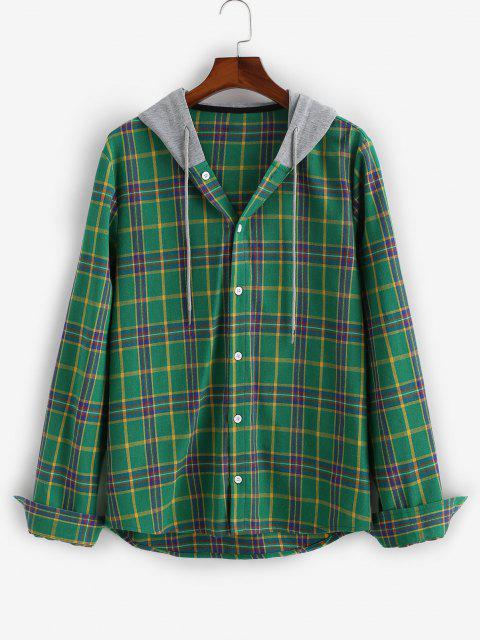 shops Plaid Long Sleeve Colorblock Hooded Shirt - DEEP GREEN M Mobile