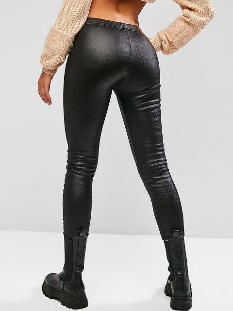 fancy Fleece Lined Coated Leggings - BLACK M Mobile