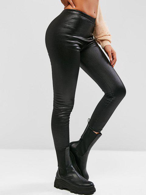 trendy Fleece Lined Coated Leggings - BLACK L Mobile