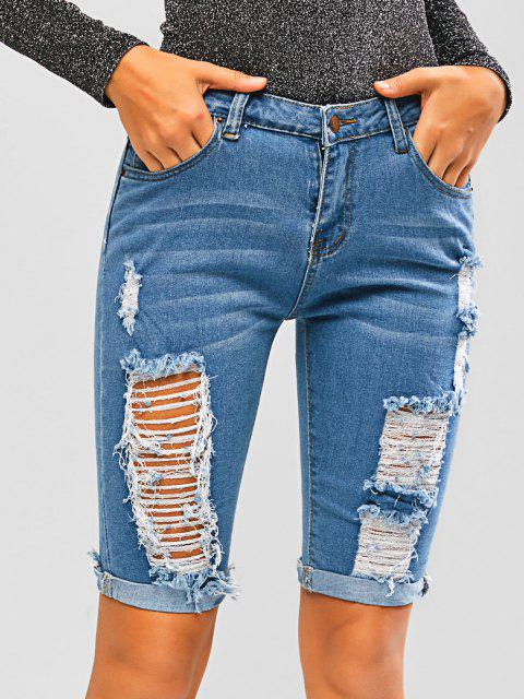 trendy Ripped Cuffed Hem Skinny Denim Biker Shorts - BLUE L Mobile