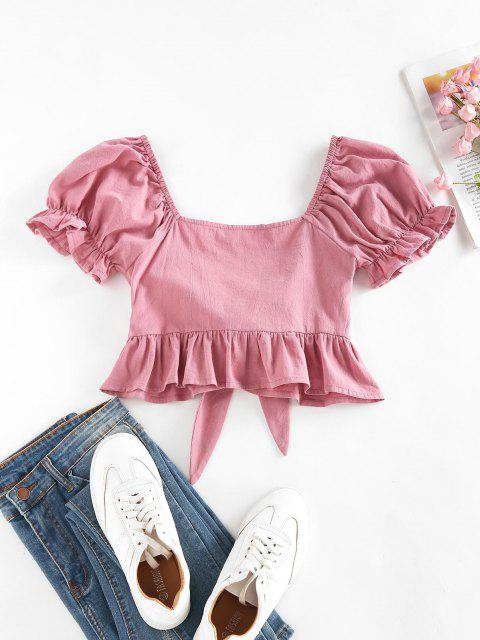 buy ZAFUL Ruffle Puff Sleeve Tied Crop Blouse - DEEP PINK L Mobile