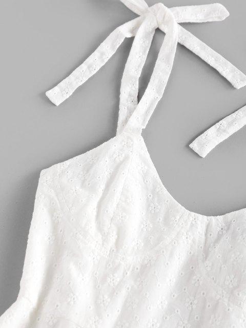 ZAFUL Gebundenes Broderie Anglaise Schulter Rückenfreies Minikleid - Weiß XL Mobile
