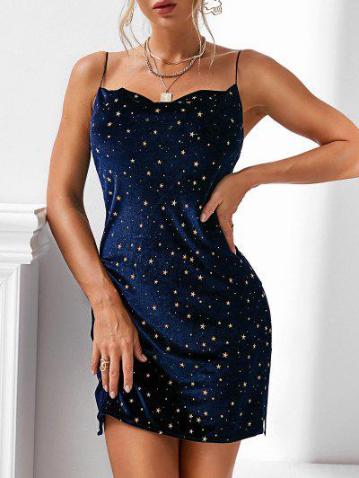 Stars Side Slit Cowl Front Velvet Dress - Deep Blue L