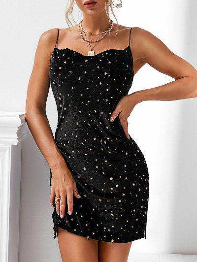 Stars Side Slit Cowl Front Velvet Dress - Black S