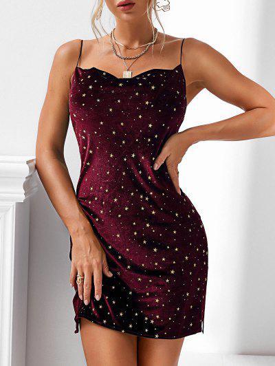 Stars Side Slit Cowl Front Velvet Dress - Red Wine S
