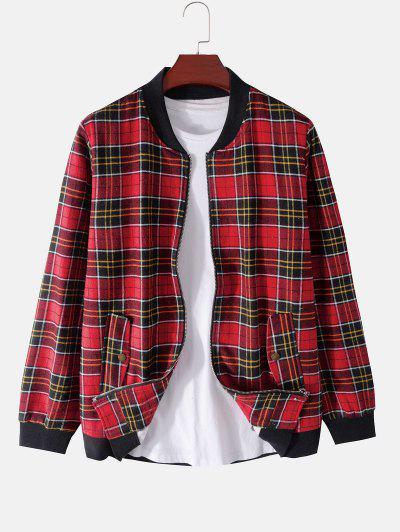Plaid Print Rib-knit Trim Fleece Jacket - Red M