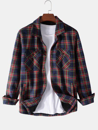 Plaid Print Multi Pockets Fleece Jacket - Deep Blue 2xl