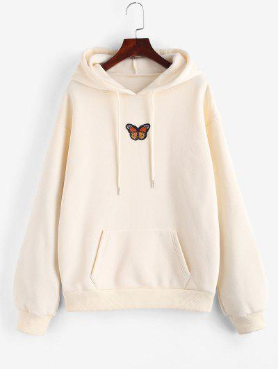 Fleece Lined Front Pocket Butterfly Patch Hoodie - Light Yellow L