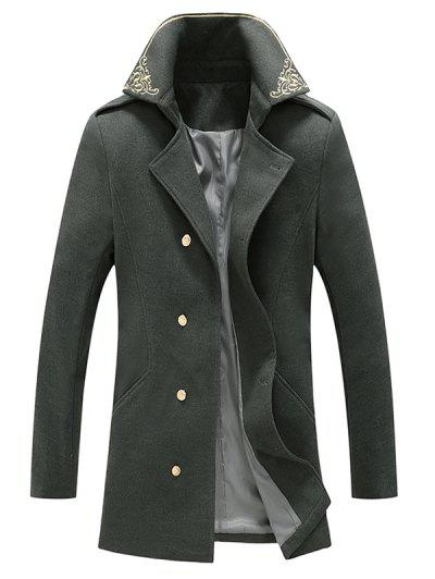 Flower Embroidered Double Breasted Wool Blend Coat - Gray Xxl