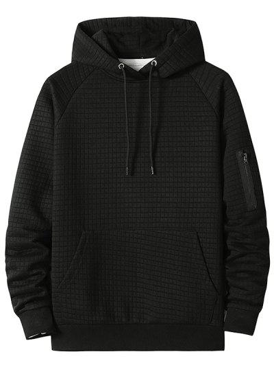 Raglan Sleeve Front Pocket Plaid Emboss Hoodie - Black Xl