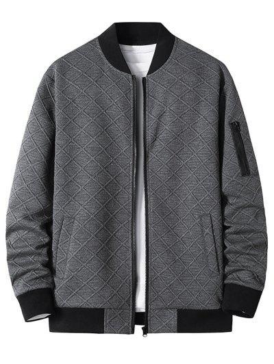 Reißverschluss Tasche Gitter Jacquard Reißverschluss Jacke - Dunkelgrau M