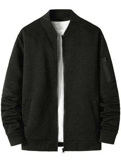 Zipper Pocket Grid Jacquard Zip Up Jacket - Black Xxxl