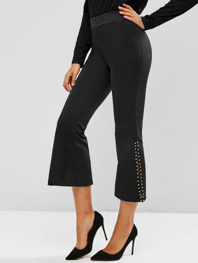 Studded Slit Pull On Flare Pants - Black L
