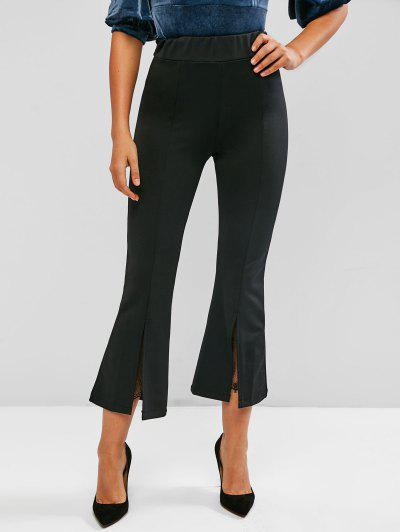 Lace Panel Seam Detail Slit Flare Pants - Black L