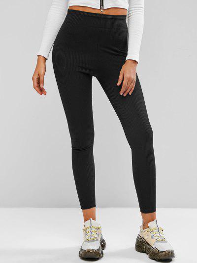 Wide Waistband Rib-knit Leggings - Black L