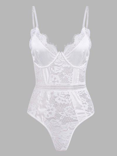 Eyelash Lace Scalloped Trim Lingerie Teddy - White M