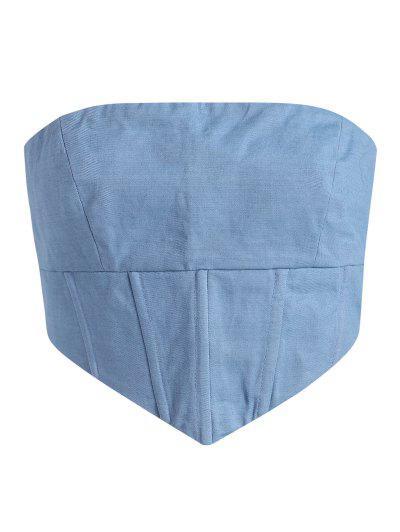Back Zip Strapless Corset Tank Top - Blue S