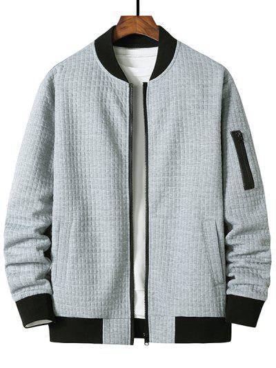 Plaid Emboss Zipper Pocket Zip Up Jacket - Light Gray M