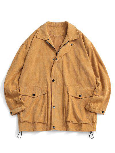 Double Pockets Zip Up Corduroy Jacket - Light Coffee L
