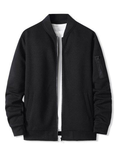 Zipper Pocket Ribbed Zip Up Jacket - Black Xxxl