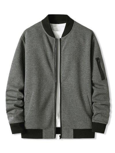 Zipper Pocket Ribbed Zip Up Jacket - Dark Gray L
