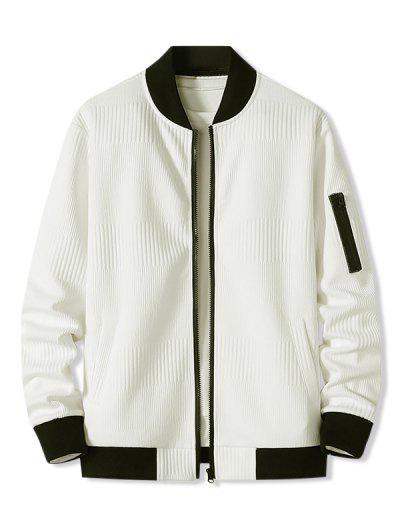 Zipper Pocket Ribbed Zip Up Jacket - White M