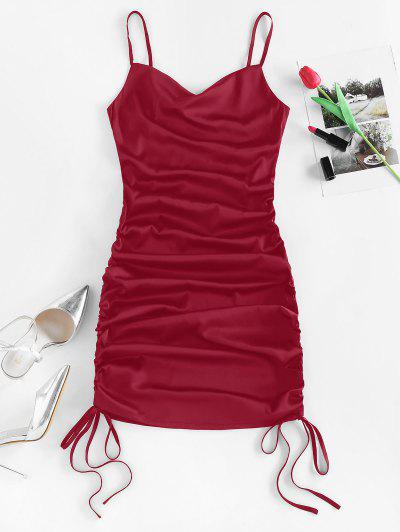 ZAFUL Satin Cinched Cowl Front Mini Dress - Red Wine S