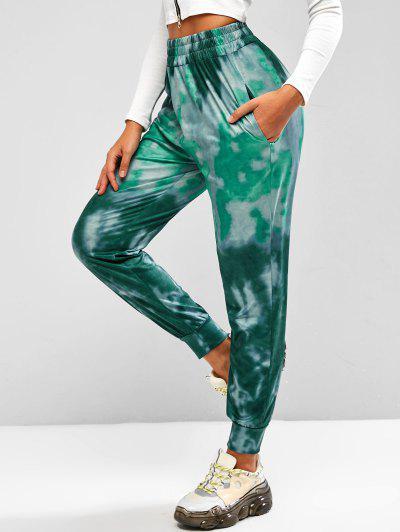 Tie Dye Pocket Beam Feet Pull On Pants - Green Xl