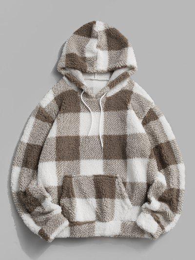 Flauschiges Kariertes Muster Hoodie - Weiß L