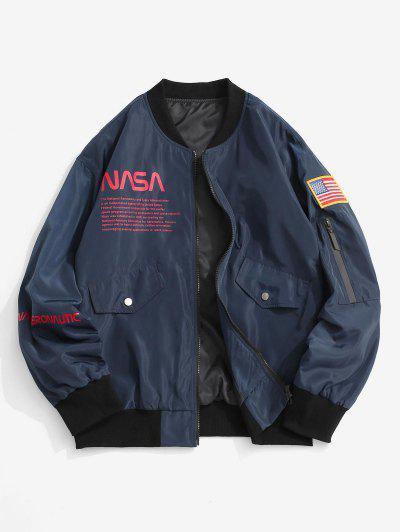 Buchstabe Druck Amerikanische Flagge Bestickte Jacke - Marmor Blau S