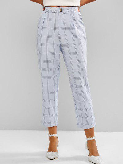 Windowpane Check High Waist Tapered Pants - Light Blue Xl