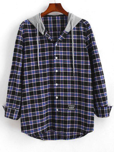 Colorblock Hooded Plaid Shirt - Deep Blue L