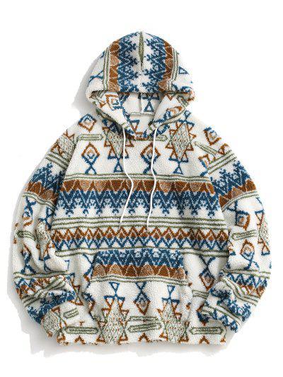 Teddy Tribal Geometric Pattern Hoodie - White M