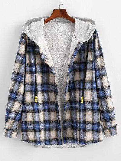 Plaid Fluffy Lined Colorblock Hooded Shirt Jacket - Blue M