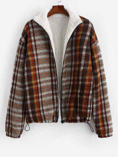 Tribal Pattern Teddy Lined Knit Jacket - Deep Coffee M