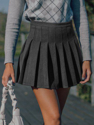 Knife Pleated A Line Mini Skirt - Light Gray M