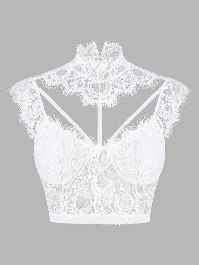 Eyelash Lace Strappy Bralette Lingerie Top - White S