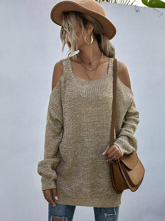 fashion Heathered Cold Shoulder Oversize Sweater - LIGHT COFFEE M