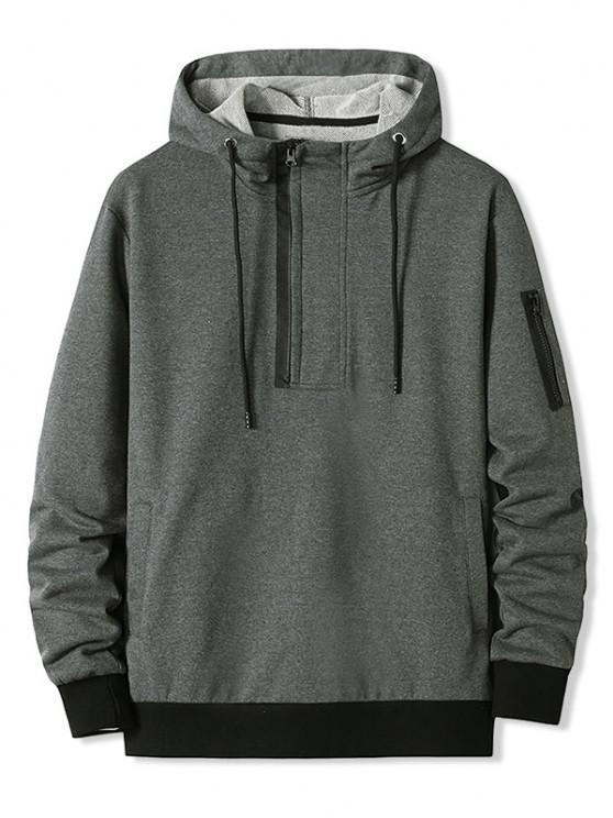 outfit Zipper Pocket Half Zip Hoodie - DARK GRAY XL