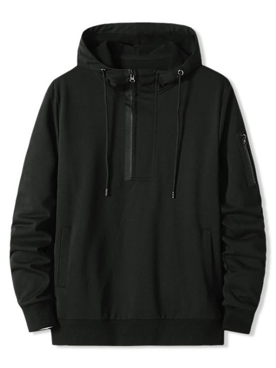 lady Zipper Pocket Half Zip Hoodie - BLACK XL
