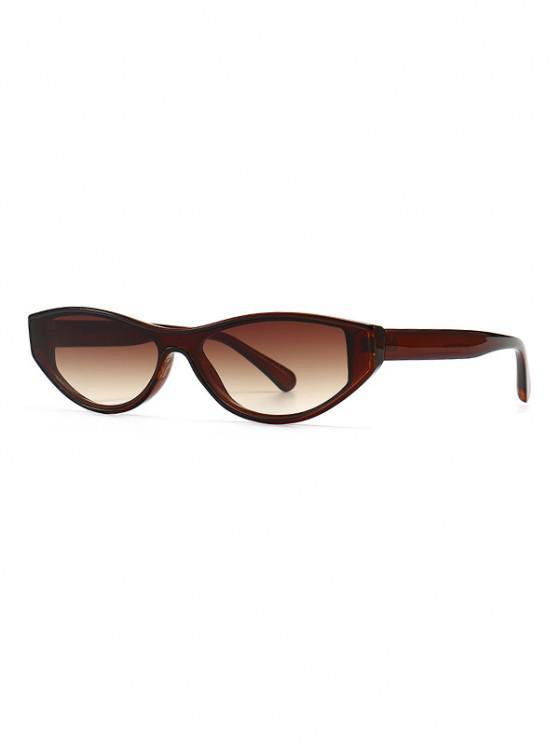 Narrow Kitten Eye Retro Sunglasses - BROWN