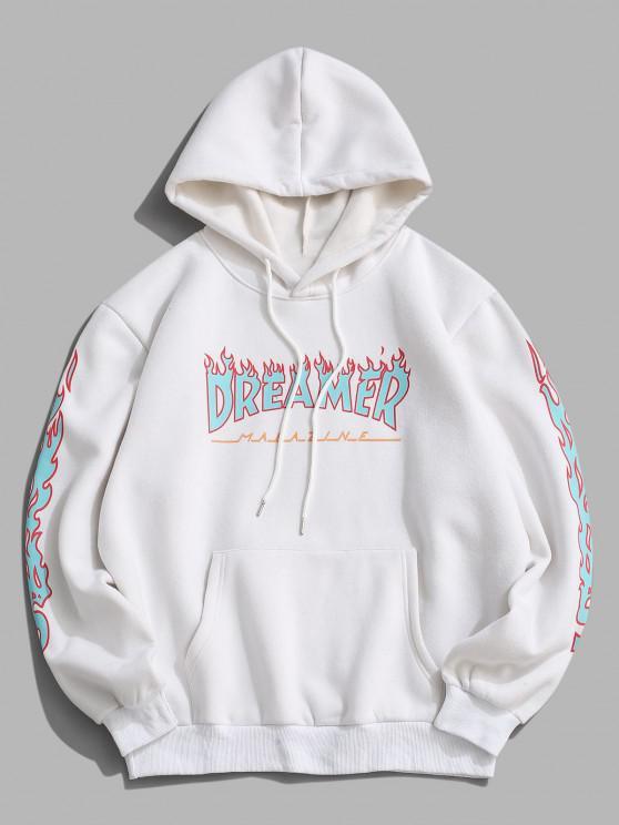 buy ZAFUL Contrast Fire Flame Pattern Fleece Hoodie - WHITE 2XL