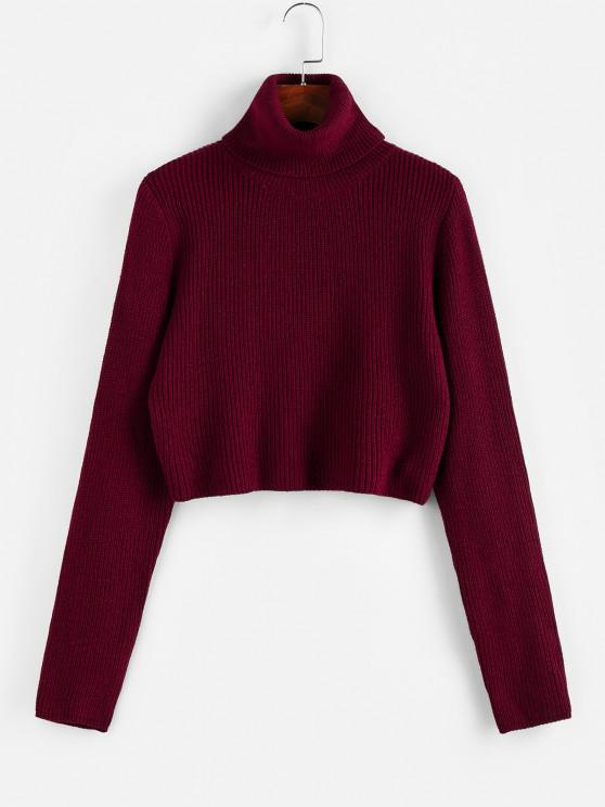 ZAFUL Turtleneck Plain Crop Sweater - نبيذ احمر S