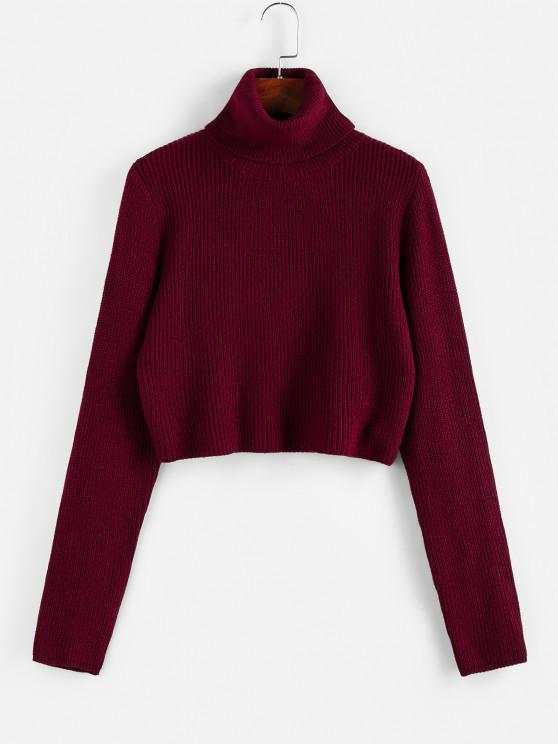 ZAFUL Turtleneck Plain Crop Sweater - نبيذ احمر XL