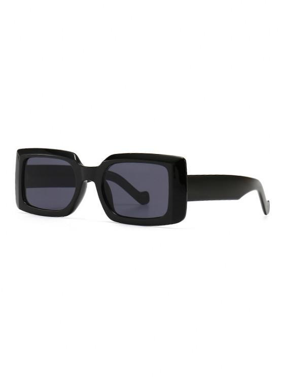Retro Wide Frame Rectangle Sunglasses - أسود