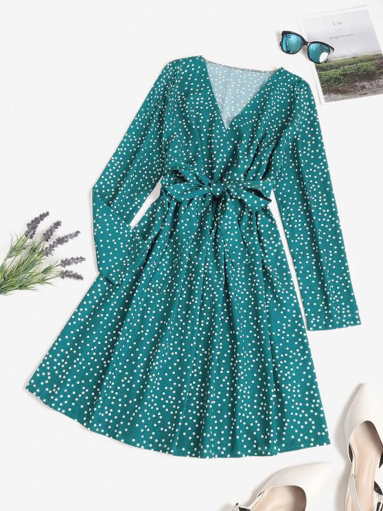 chic Polka Dot Surplice A Line Tie Waist Dress - DEEP GREEN S